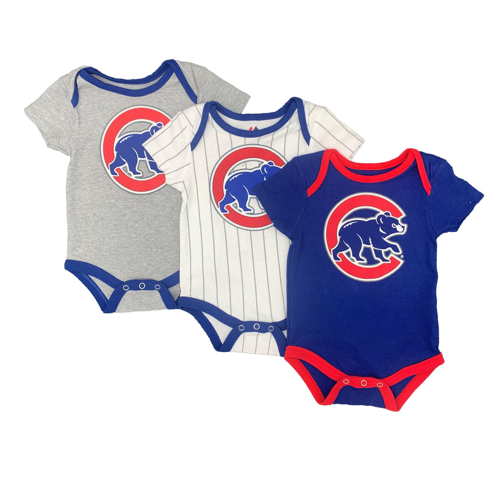 CLARK NAME & NUMBER CHICAGO CUBS INFANT 3 PIECE CREEPER SET