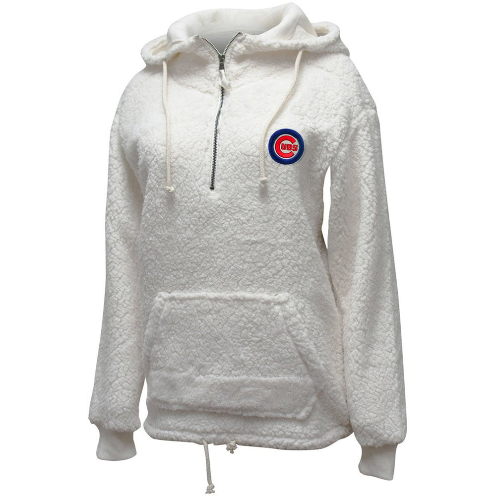 SHERPA GIRL'S HALF ZIP CHICAGO CUBS HOODIE
