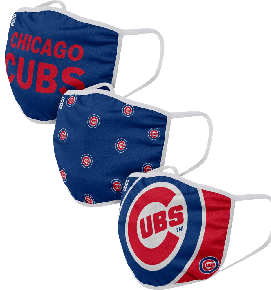3-PACK ADULT CLOTH CHICAGO CUBS FACE COVERING