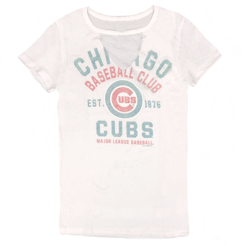 FADED CUTOUT WOMEN'S CHICAGO CUBS V-NECK TEE - Ivy Shop