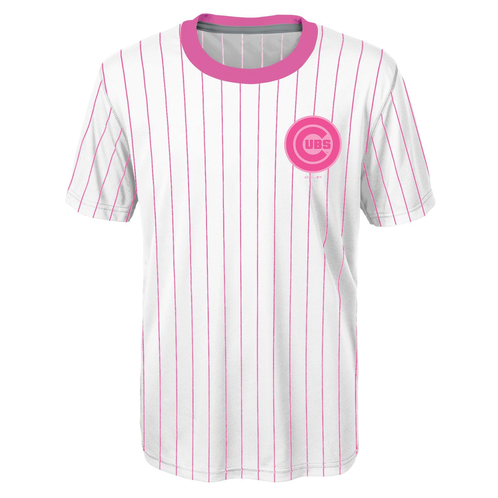 PINK PINSTRIPE YOUTH PERFORMANCE TEE