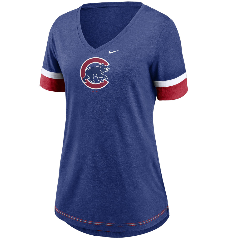 MESH FASHION WOMEN'S CHICAGO CUBS V-NECK TEE - Ivy Shop