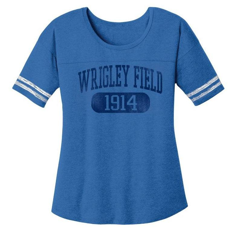 WRIGLEY FIELD WOMEN'S SCOOP SLEEVE STRIPE TEE