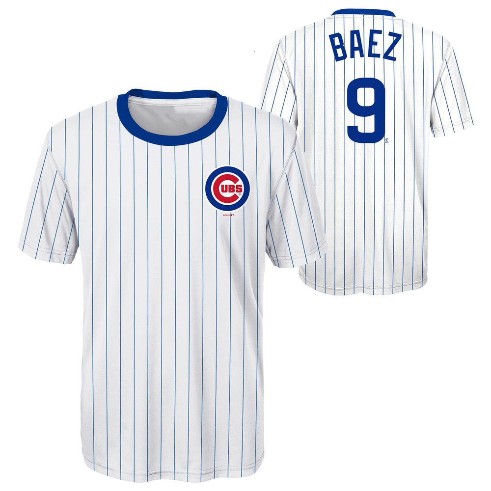 CHICAGO CUBS YOUTH JAVIER BAEZ COOPERSTOWN COLLECTION PINSTRIPE PERFORMANCE TEE