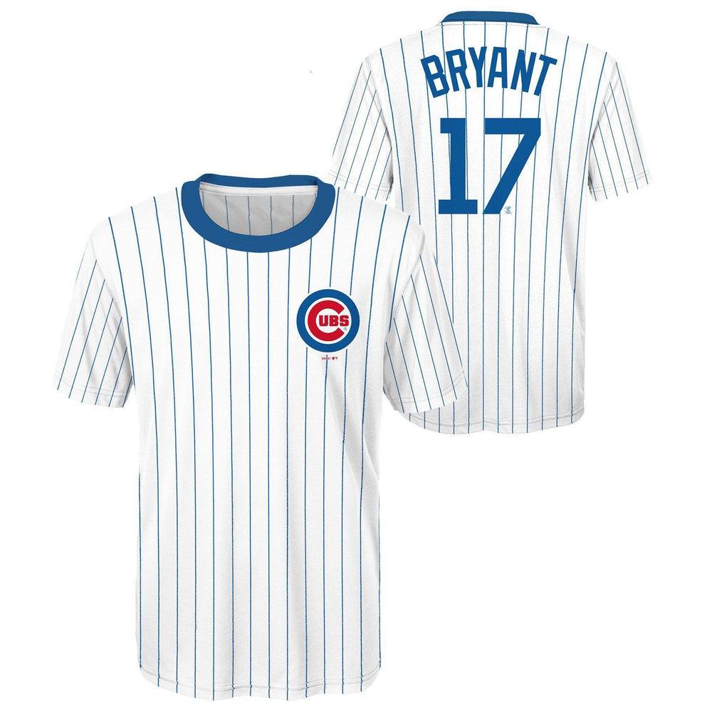 CHICAGO CUBS YOUTH KRIS BRYANT COOPERSTOWN COLLECTION PINSTRIPE PERFORMANCE TEE