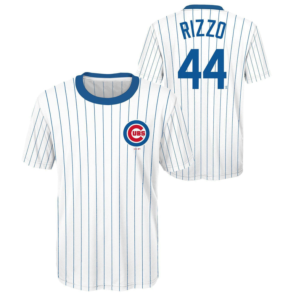 CHICAGO CUBS YOUTH ANTHONY RIZZO COOPERSTOWN COLLECTION PINSTRIPE PERFORMANCE TEE