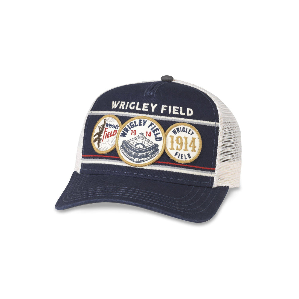 WRIGLEY FIELD HISTORICAL PATCHES TRUCKER CAP