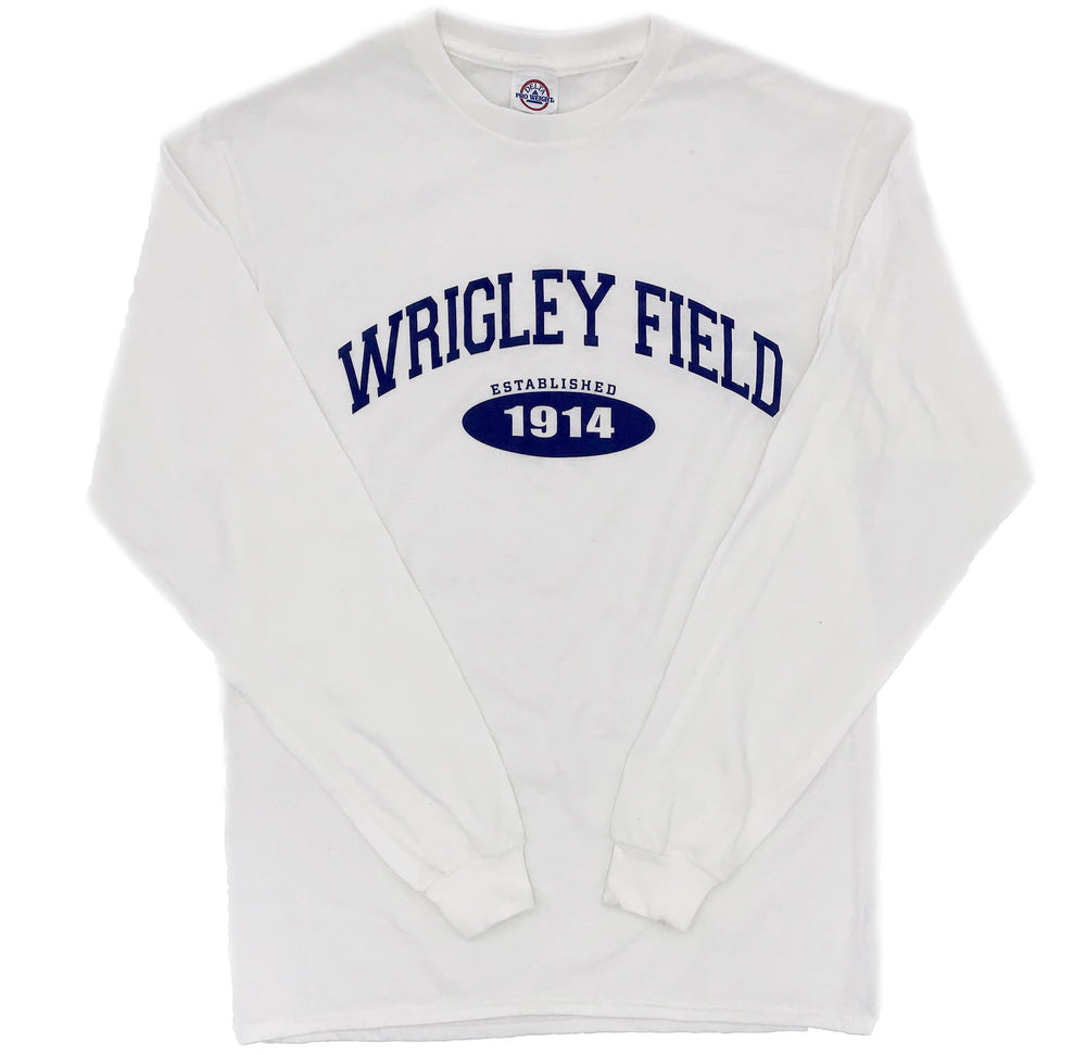 EST. 1914 WHITE WRIGLEY FIELD LONG SLEEVE TEE