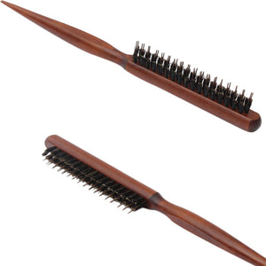 Fluffy Combs Wooden Handle Natural Boar Bristle Hair Brushes Hairdressing Barber Scalp Massage Hair Styling Tools
