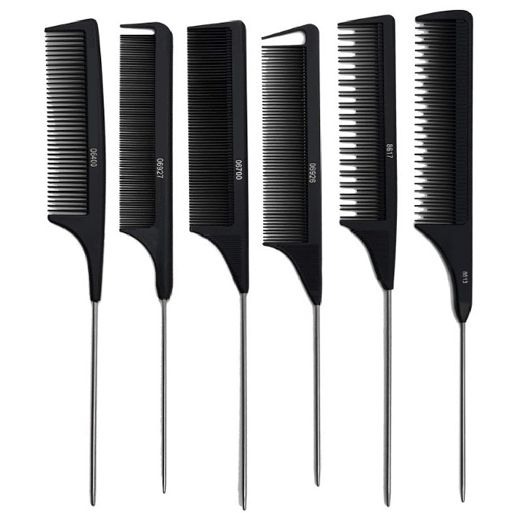 Professional Heat Resistant Salon Black Metal Pin Tail Antistatic Comb Hard Carbon Cutting Comb Hair Trimmer Brushes