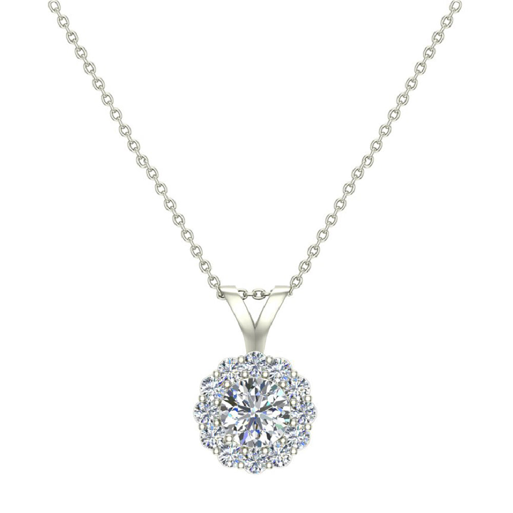 Diamond Halo Necklace by Glitz Design