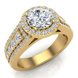 Round Brilliant Diamond Halo Engagement Rings for Women GIA certified 14K Gold 1.90 carat (G,I1) - Yellow Gold