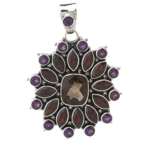 Artisan Crafted Sterling 13.60 ct tw Multi-Gemstone Cluster Pendant