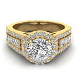 Statement Round Cut Halo Diamond Engagement Ring 1.90 Carat Total Weight 14K Gold (I,I1) - Yellow Gold