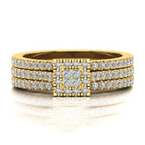 Princess Cut Square Halo Diamond Wedding Ring Set w/ Enhancer Bands 0.70 Carat Total 14K Gold (G,SI) - Yellow Gold