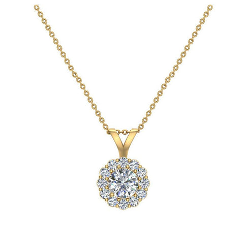 Halo Diamond necklaces for women 14K Gold Charms Round Cut Earth-mined Diamond Pendant (G, I1) - Yellow Gold