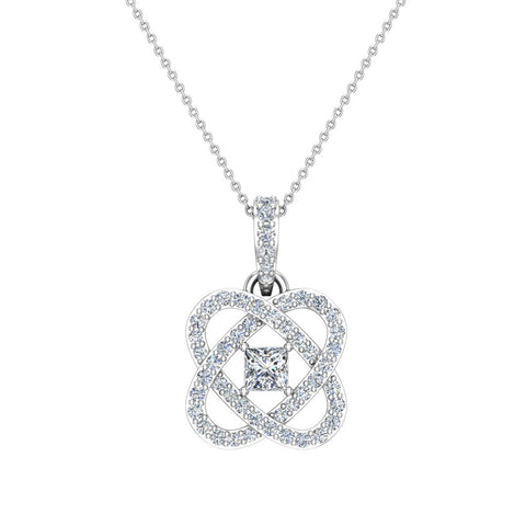Center Princess cut 14K Gold Diamond Pendant necklace for women w/gold chain 0.60 ct t.w. (I,I1) - White Gold