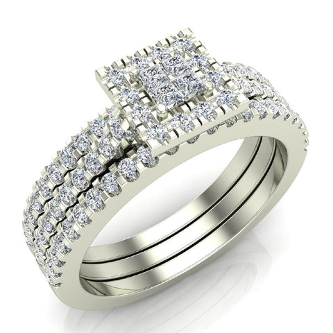 Princess Cut Square Halo Diamond Wedding Ring Set w/ Enhancer Bands 0.70 Carat Total 14K Gold (G,SI) - White Gold