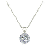 Halo Diamond necklaces for women 14K Gold Charms Round Cut Earth-mined Diamond Pendant (G, I1) - White Gold