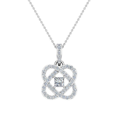 Center Princess cut 18K Gold Diamond Pendant necklace for women w/gold chain 0.60 ct t.w. (G,VS) - White Gold