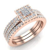 Princess Cut Square Halo Diamond Wedding Ring Set w/ Enhancer Bands 0.70 Carat Total 14K Gold (G,SI) - Rose Gold