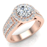 Statement Round Cut Halo Diamond Engagement Ring 1.90 Carat Total Weight 14K Gold (I,I1) - Rose Gold