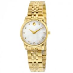 Museum Classic White Mother Of Pearl Set with Diamonds Dial Ladies Watch 0606998