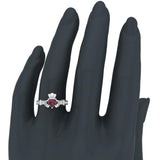 Genuine Heart Red Garnet Claddagh Diamond Ring 0.62 Carat Total Weight 14K Gold - Rose Gold