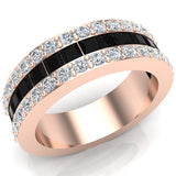 Mens Wedding Rings / Unisex Black Diamond 14K Solid Gold  Accented Wide Halfway Diamond Ring 3.72 carat tw - Rose Gold