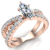 X Cross Split Shank Marquise Cut Diamond Engagement Ring 1.75 carat Total 14K Gold - Rose Gold
