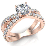 X Cross Split Shank Round Brilliant Diamond Engagement Ring 1.75 carat Total 18K Gold - Rose Gold