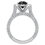 Black Diamond Wedding Ring Set 14K Gold Halo Rings for women 8.00 mm 5.90 carat (G,SI) - White Gold