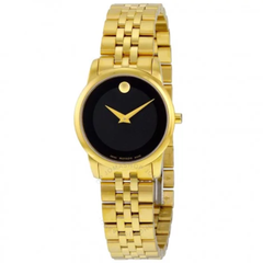 Museum Classic Black Dial Yellow Gold PVD-finished Stainless Steel Ladies Watch 0607005