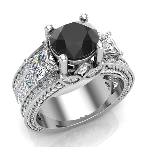 Black Diamond Engagement Rings for Women 7.30 mm 4.85 carat Past Present Future Style 14K Gold (I,I1) - White Gold