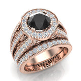 Large Black Diamond Wedding Ring Set 14K Gold Halo Rings for women 7.30 mm 3.20 carat (G,SI) - Rose Gold