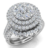 Double Halo with Solitaire look Diamond Cluster Ring Set 18K Gold (G,VS) - White Gold