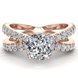 X Cross Split Shank Square Cushion Shape Diamond Engagement Ring 1.75 carat Total 18K Gold - Rose Gold