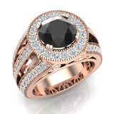 Large Black diamond engagement ring 14K Gold 8.00 mm 3.50 carat tw (I,I1) - Rose Gold