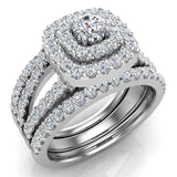 Cushion Shape Double Halo Split Shank Wedding Ring w/ Enhancer Bands 1.32 Carat Total 18K Gold (G,VS) - White Gold