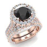 Black Diamond Wedding Ring Set 18K Gold Halo Rings for women 8.00 mm 5.90 carat (G,VS) - Rose Gold