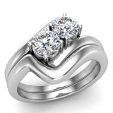 Two-Stone Diamond Wedding Ring Set in 14K Gold (G,VS) - White Gold