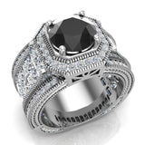 Large Black Diamond Engagement Ring 14K Gold Halo Rings for women 8.00 mm 6.85 carat (G,SI) - White Gold