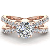 X Cross Split Shank Round Brilliant Diamond Engagement Ring 1.75 carat Total 14K Gold - Rose Gold
