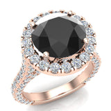 Black Diamond Engagement Rings 18K Gold Halo rings for women 5.50 carat (G,VS) - Rose Gold
