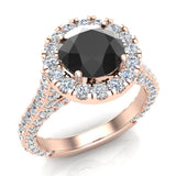 Black Diamond Engagement Rings 14K Gold Halo rings for women 4.15 carat (I,I1) - Rose Gold