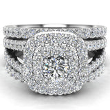 Cushion Shape Double Halo Split Shank Wedding Ring w/ Enhancer Bands 1.32 Carat Total 14K Gold (I,I1) - White Gold