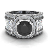 Large Black Diamond Engagement Ring 14K Gold Halo Rings for women 7.30 mm 6.35 carat (I,I1) - White Gold