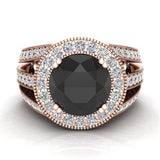 Large Black diamond engagement ring 18K Gold 9.30 mm 4.56 carat tw (G,VS) - Rose Gold