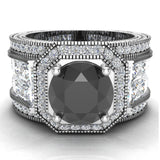 Large Black Diamond Engagement Ring 14K Gold Halo Rings for women 8.00 mm 6.85 carat (I,I1) - White Gold