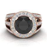 Large Black diamond engagement ring 14K Gold 9.30 mm 4.56 carat tw (I,I1) - Rose Gold